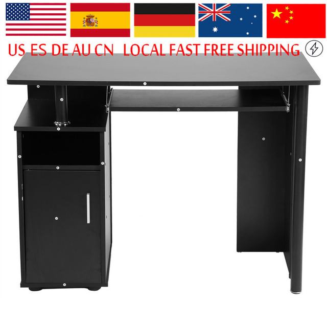 Modern Iron Computer Desk Office Student Study Table Corner Furniture With Cupboard Shelves