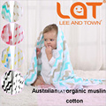 "Top Quality LAT Baby blanket&Swaddle 100% Organic Cotton Muslin One Layer Two 47""x 47"" Pre-washed Multifunctional Towel"