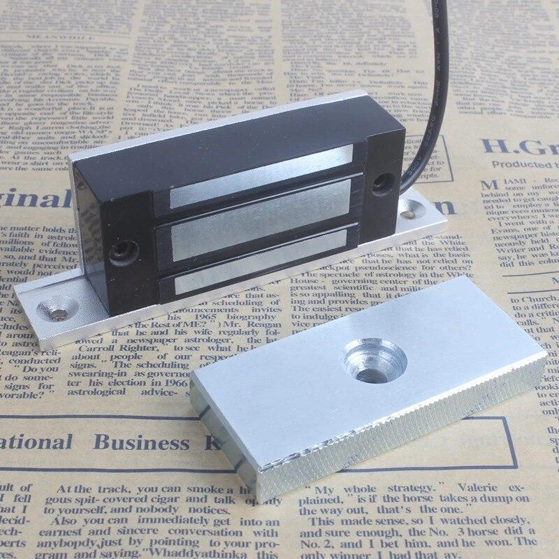 Алюминиевый магнитный замок 100 фунтов 60 кг 12 В, встроенный электромагнитный замок, замок для шкафа, дверь