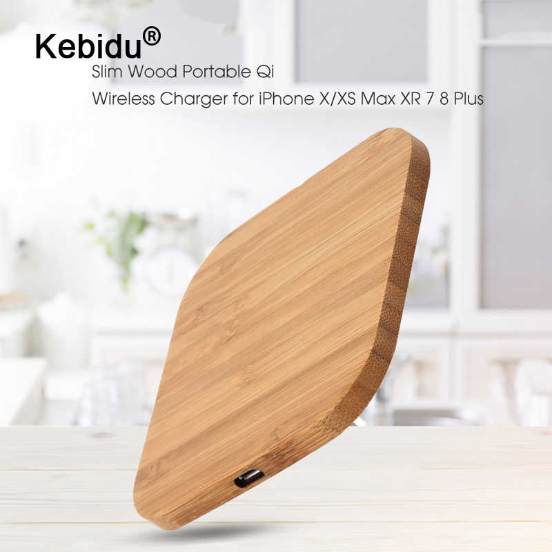 kebidu Portable 5W Qi Wireless Charger Slim Wood Pad For Apple iPhone 7 8 Plus Smart Phone Wireless Charging Pad For Samsung S7