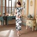 Summer Elegant Slim Sexy Long Ladies Vintage Dress Chinese Women Satin Flower Cheongsam Qipao Tops S M L XL XXL XXXL C0044-A