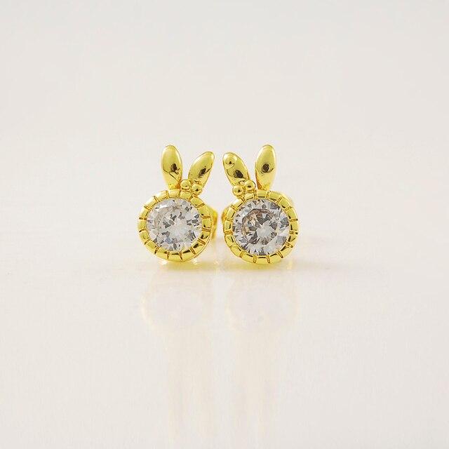 New Genuine 24k Gold Diamond Earrings Je019 Ultra Low Cost Whole Elegant Rabbit