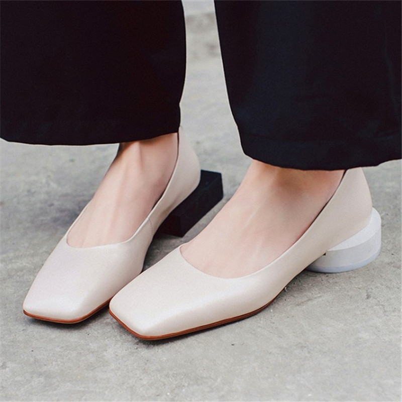 Plus Size 34-43 European Novelty Women Shoes Genuine Leather Slip-On Ladies Spring Autumn Square Toe Strange Style Casual Shoes vinlle 2017 women pumps college style square med heel vintage slip on pu leather shoes casual round toe girl shoes size 34 40