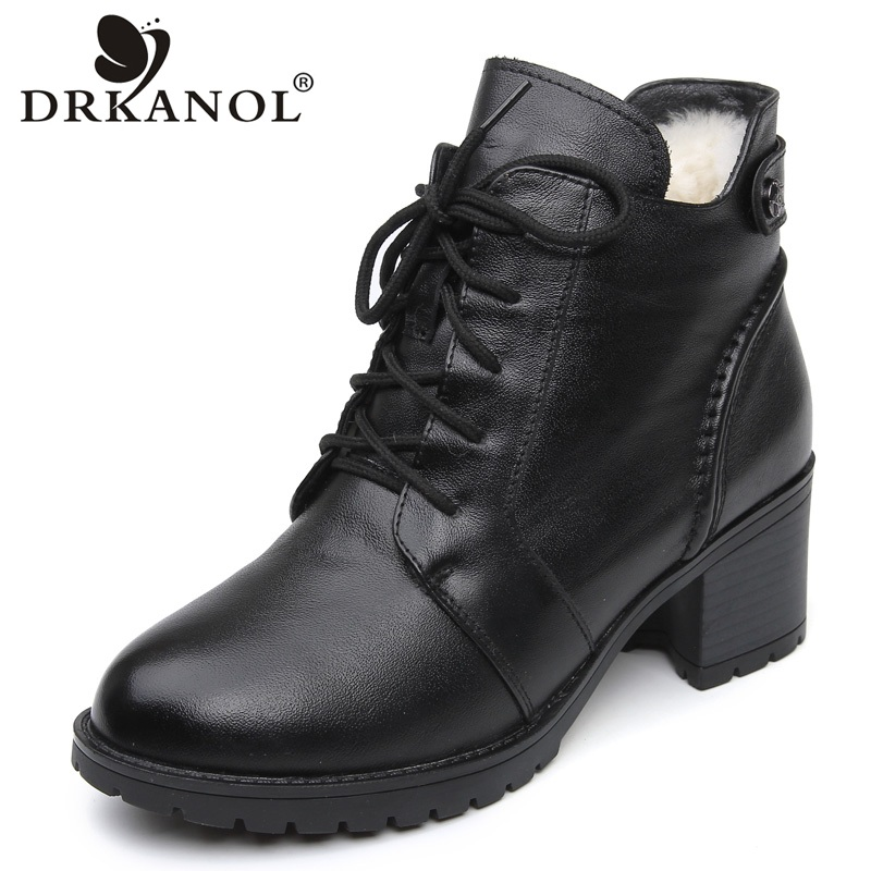DRKANOL 2018 Fashion Genuine Leather Ankle Boots Women Winter Wool Warm Martin Boots Black Thick High Heel Leather Boot Shoes fanyuan pu leather shoes women ankle boots autumn thick high heel martin boots zip winter handmade leather shoes boot blac