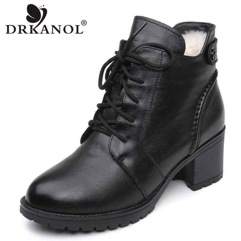 DRKANOL 2019 แฟชั่นของแท้หนังข้อเท้ารองเท้าบูทผู้หญิงฤดูหนาว Martin Boots สีดำรองเท้าส้นสูงหนารองเท้า