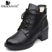 DRKANOL 2020 แฟชั่นของแท้หนังข้อเท้ารองเท้าบูทผู้หญิงฤดูหนาวขนสัตว์Warm Snowรองเท้าสีดำรองเท้าส้นสูงหนารองเท้ารองเท้า