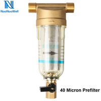 NuoNuoWell Brass Water Prefilter 3/4 1/2'' BSP Male Thread Connector Irrigation Filter 40 Micron Purifier Protect Appliance