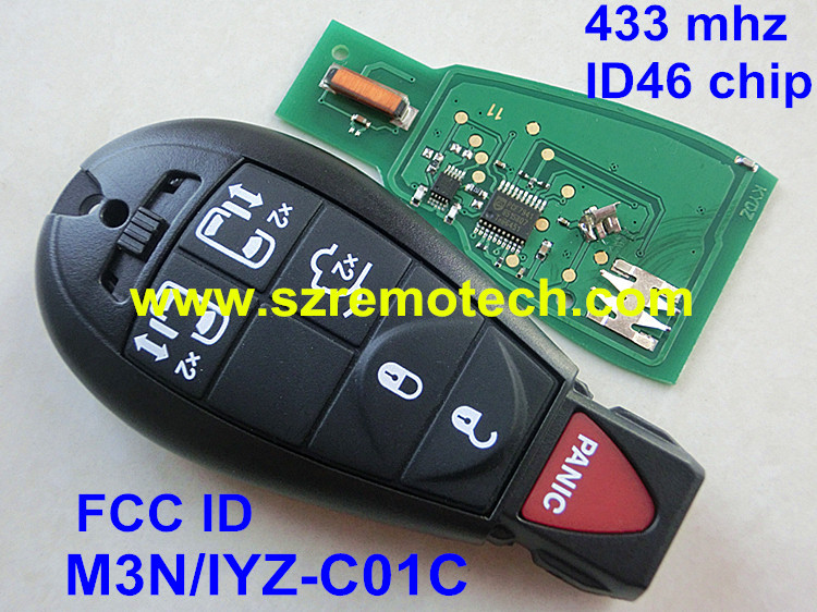 Free Shipping FCC: M3N/IYZ-C01C Smart Remote Key Fobik Keyless Fob Transmitter 5B+Panic for Dodge Chrysler 433MHz ID46 Chip