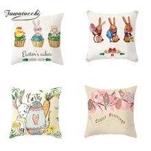 Fuwatacchi Easter Festtival Decor Cushion Covers Cute Rabbit Egg Pillow for Home Sofa Celebration Festival Pillowcases