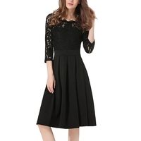 4 Color Top Quality Three Quarters Sleeves See Through Lace Dress High Waist O Neck Swing