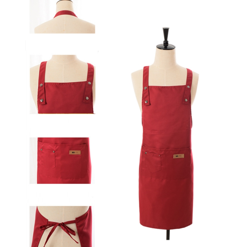 Image 5 - 1pcs Solid Color Cooking Kitchen Apron For Woman Men Chef Waiter Cafe Shop BBQ Hairdresser Aprons Custom Logo Gift Bibs-in Aprons from Home & Garden