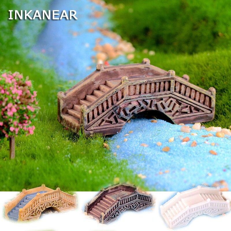 Kawaii antigo arco ponte modelo resina fada jardim miniatura/terrário ornamentos estatuetas diy acessórios decoração