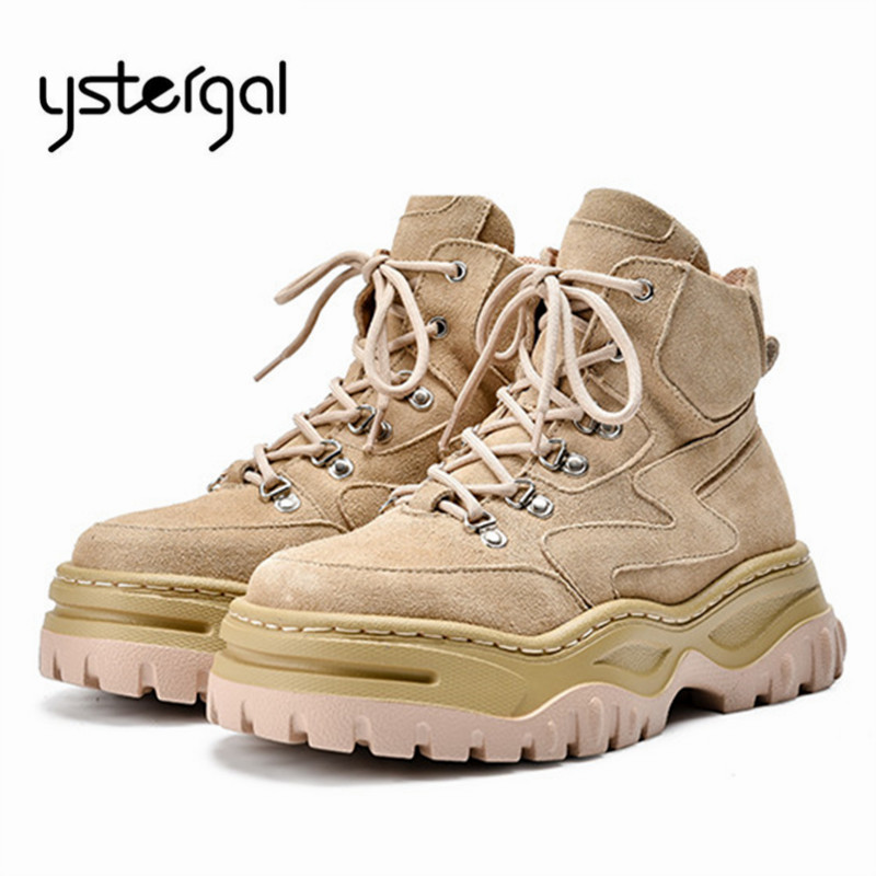 Ystergal Suede Women Ankle Boots Female Lace Up Platform Creepers Riding Boots Flat Shoes Woman 2019
