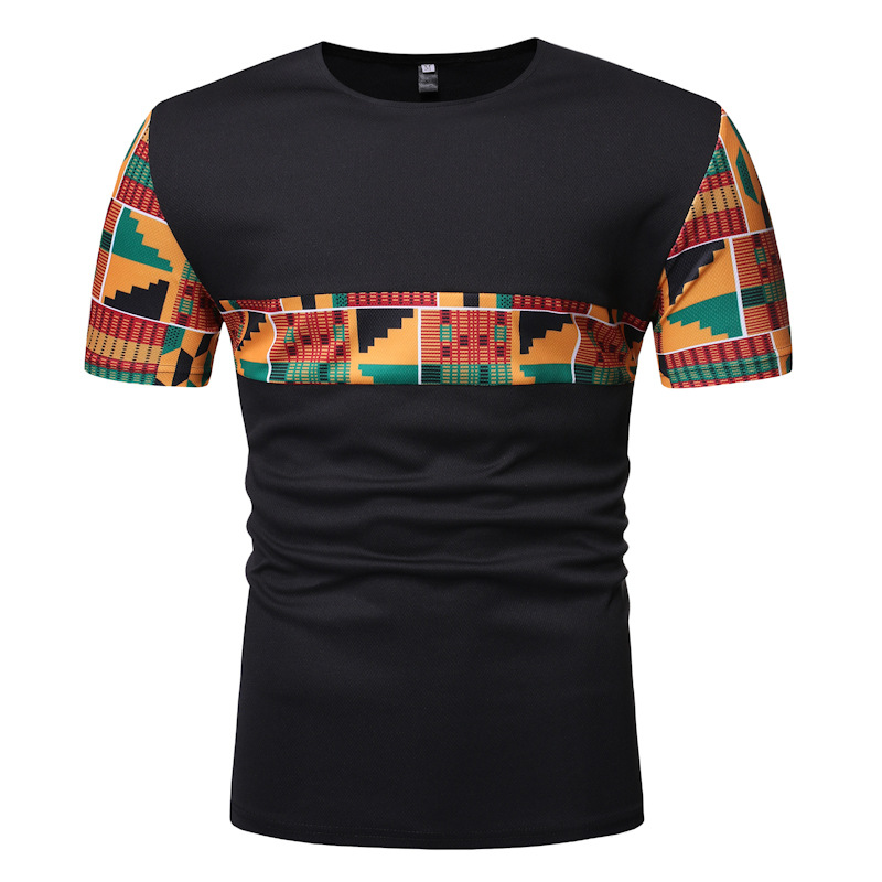 Black Patchwork African Dashiki T Shirt Men 2019 Summer New Short Sleeve African Clothes Streetwear Casual Camisetas Hombre XXL