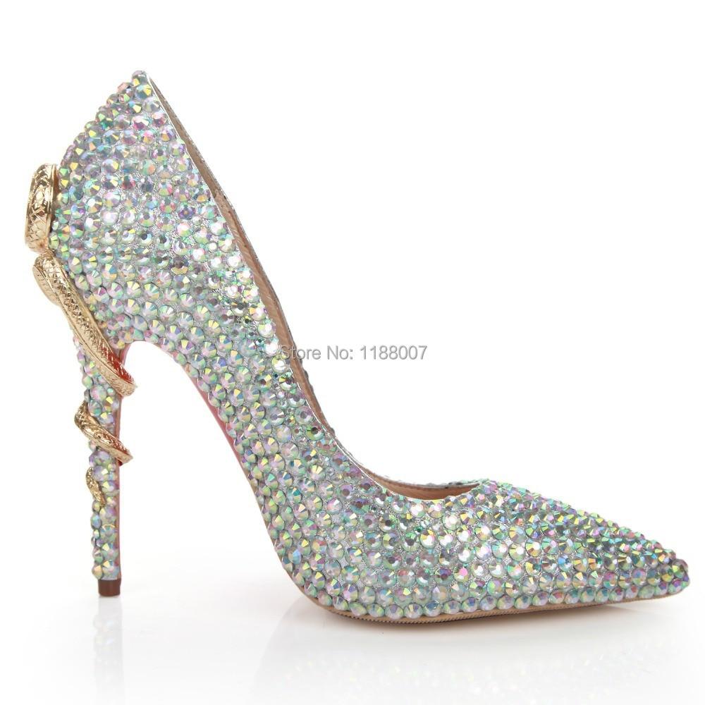 bling bling amazing fashion design snake metal back heel high heels point toe crystal rhinestone. Black Bedroom Furniture Sets. Home Design Ideas