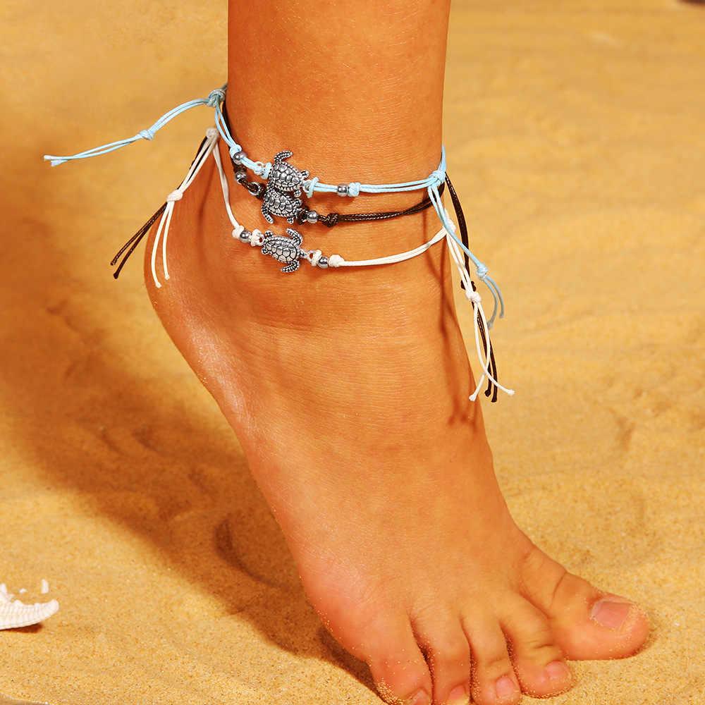 Rinhoo New Arrivals สร้อยข้อเท้าสร้อยข้อมือเท้าเชือกสีชมพู Beadeds ปลาดาวจี้สาว Bohemian Layered Anklets รั้ง