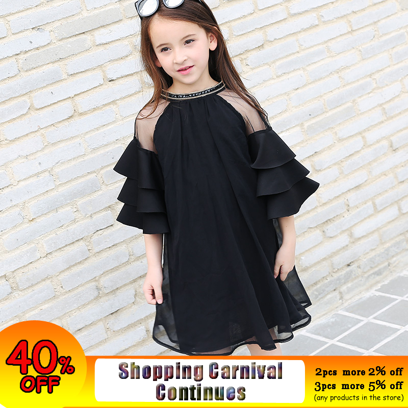 Princess Girls Dress Teenage Girl Black Chiffon Dress Flare Sleeve Sequined Kids Party Clothes Size 8 10 12 14 15 years flare sleeve tiny floral chiffon printed dress page 8