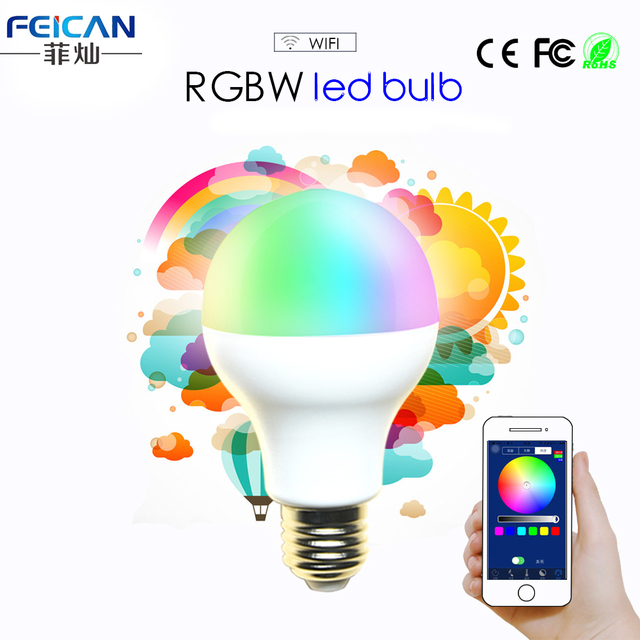 AC85-240V 5W 7W 9W RGBW WIFI LED Bulb Light Colorful Dimmable LED Light Support IOS/Android APP Control E27  B22 LED Lamp