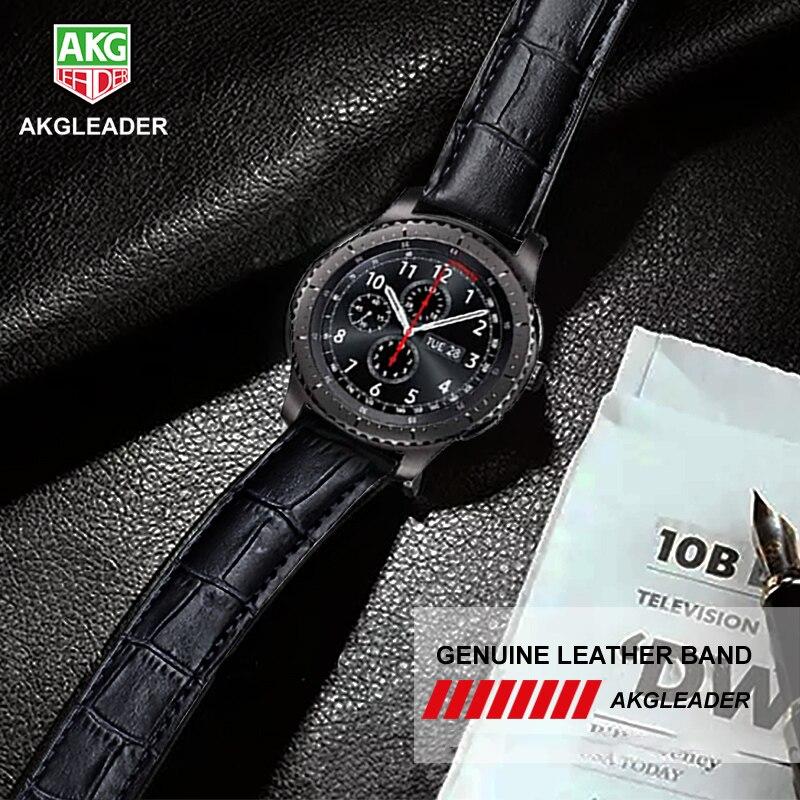 AKGLEADER 20-22mm Bracelet En Cuir Pour Samsung Vitesse S3 Sport Vitesse S2 Véritable bracelet de montre En Cuir Pour Huami Amazfit pour montre huawei