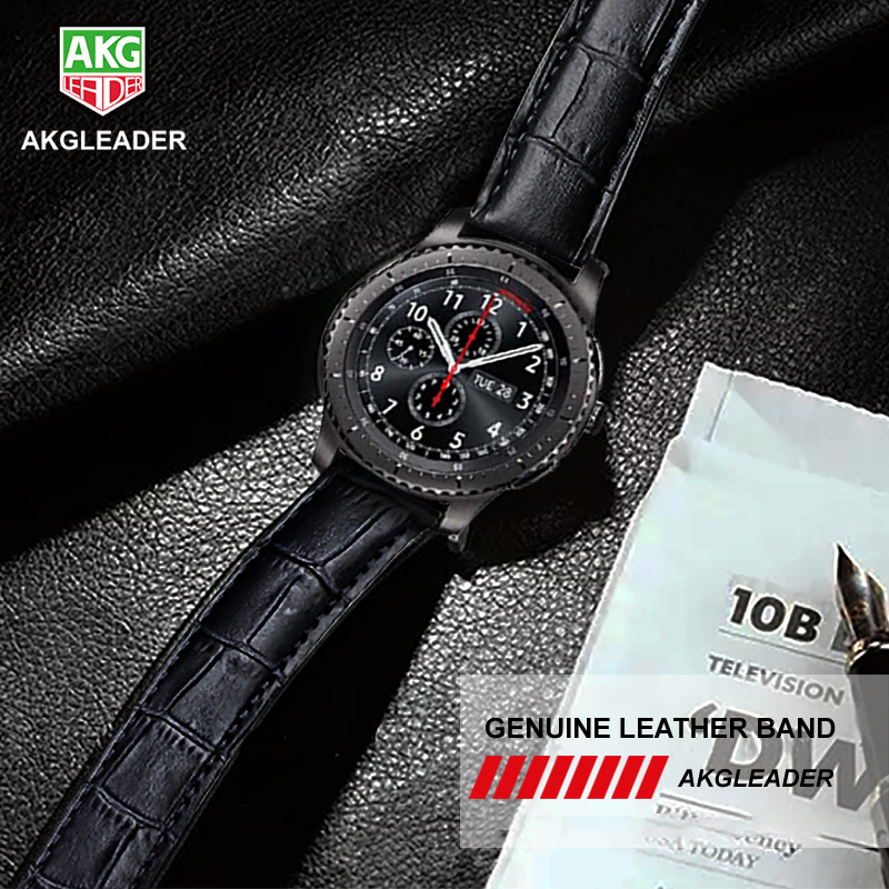 AKGLEADER 20-22mm Leather Strap For Samsung Gear S3 Sport Gear S2 Genuine Leather Watch Band For Huami Amazfit  For Huawei WatchAKGLEADER 20-22mm Leather Strap For Samsung Gear S3 Sport Gear S2 Genuine Leather Watch Band For Huami Amazfit  For Huawei Watch