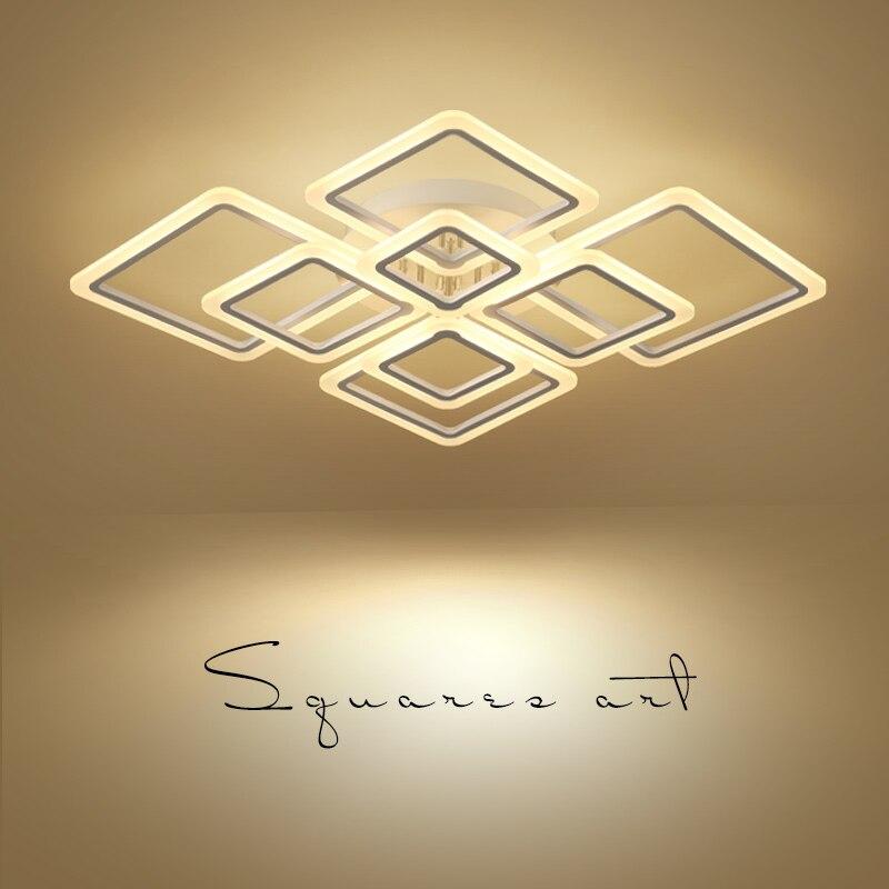 Новый дизайн квадратное кольцо люстра освещение светодиодный современный светодиодный Блеск de plafond moderne креативный домашний декор белая лю...