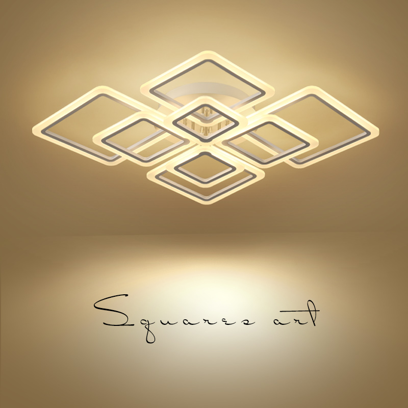 Новый дизайн квадратный люстра в форме кольца освещение современный светодиодный Блеск де плафона moderne творческий домашнего декора белый к...