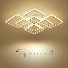 Новый дизайн квадратный люстра в форме кольца освещение современный светодиодный Блеск де плафона moderne творческий домашнего декора белый крепление для люстры
