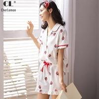 CherLemon Pure Cotton Pajamas Summer Women Strawberry Pyjama Sleepwear Short Sleeve Button Down Sleep Set Ladies Soft Loungewear