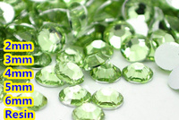 Peridot Color 2mm 3mm 4mm 5mm 6mm Facets Flat Back Resin Rhinestone Nail Art Gems Decoration