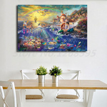 Thomas Kinkade The Little Mermaid And Tramp HD Painting Wall Art Print On Canvas Living Room Decorative Picture Christmas Gifts