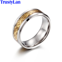 TrustyLan Fashion Jewelry Gold Color Tungsten Steel 8MM Finger Rings For Men Size 5 12 13