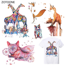 ZOTOONE Stripes Deer Iron on Transfer Patches Clothing Diy Patch Heat for Clothes Decoration Stickers Kid Gift G