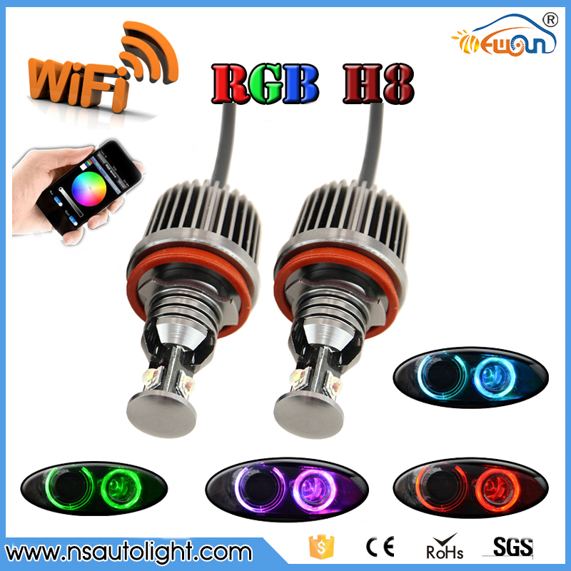 Free Shipping! Newest H8 Wifi Control Color Change Led Marker Angel Eyes For Bmw 2*36W Canbus Led Bulbs Error Free Headlamp