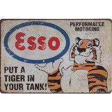 Neon Metal Sign Retro Esso Tiger Decor Tin Plaque ChicGasoline Plate American Style Vintage Car Garage Rectangle Poster 20x30cm