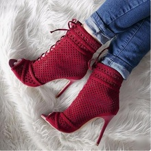 New Arrivals Red Boots Netted Peep Toe Ankle Strap Lace-up Gladiator Heels Ladies Shoes Heels Sexy High Heels Cut-out Boots цены онлайн