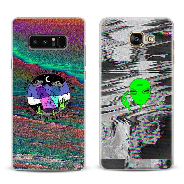Glitch Art Aliens Fashion Untuk Samsung Galaxy S4 S5 S6 S7 S8 S9 Tepi  ditambah Catatan 8 2 3 4 5 A5 A7 J5 2016 J7 2017 Telepon kasus