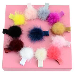 1Pcs Girls Hairpins With Small Fur Pompom Mini Ball Gripper Hairball Pom Hairclips Children Hair Clip Accessorie