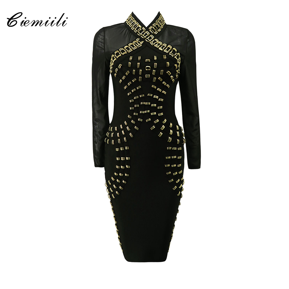 CIEMIILI Full Sleeves Metal Ring Mesh Back Zipper Knee Length Bandage Women Dress 2018 Autumn Celebrity