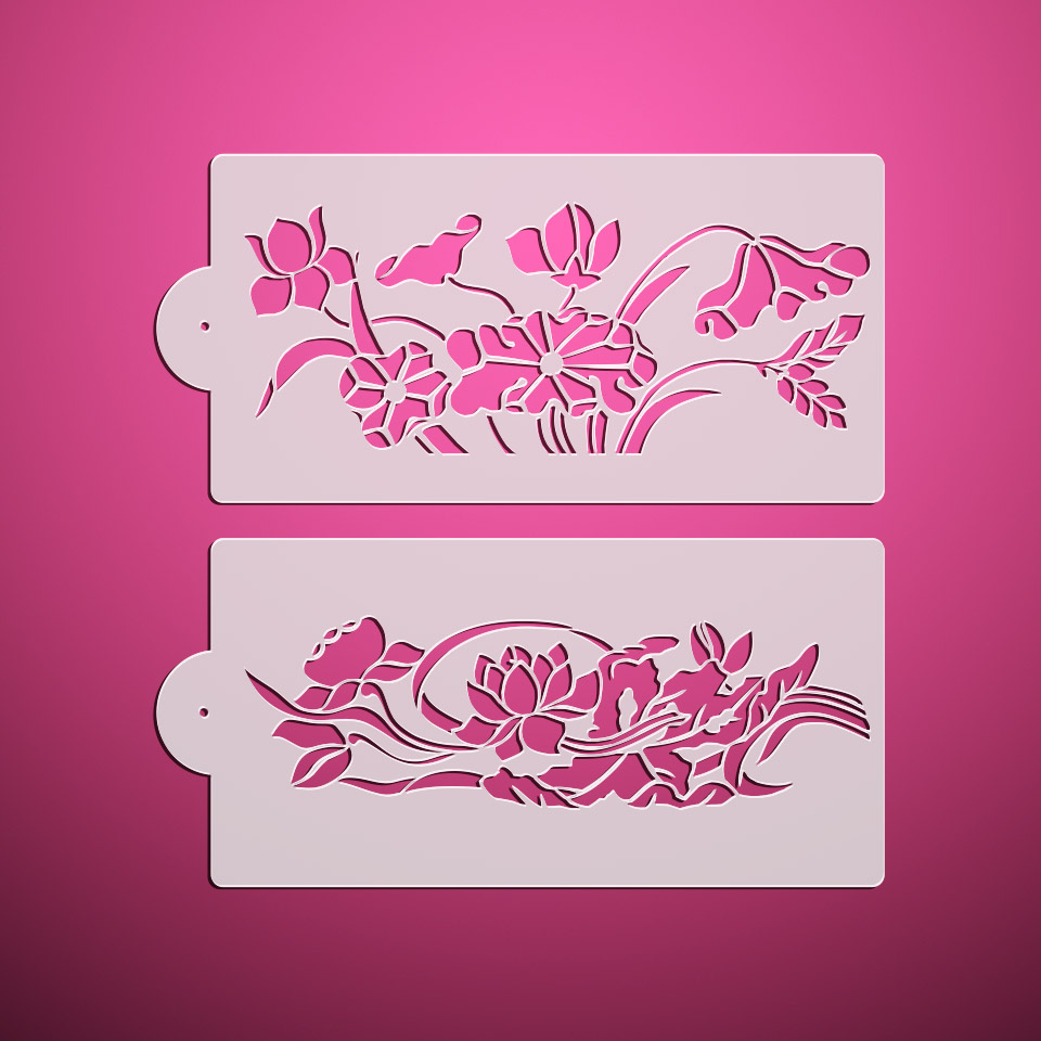 Lotus flower leaf design cake stencil fondant mold cake border lotus flower leaf design cake stencil fondant mold cake border decorating moldsnew year wall design stencils st 3105 in cake molds from home garden on izmirmasajfo