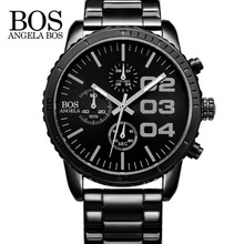 ANGELA BOS Germany watches 8013 Sport Chronograph Stop Stainless Steel Cool Luxury Watch Men Famous Brand Quartz Men's Watches