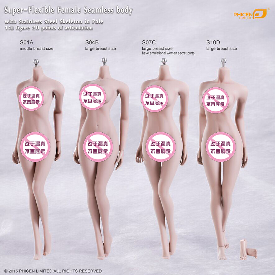 TBLeague Phicen S01A S04B S07C S10D Super-Flexible Seamless Body With Stainless Steel Skeleton In Pale free shipping phicen 11inch1 6 super flexible female seamless body with stainless steel skeleton with asian head model body doll
