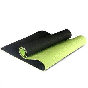 Image 2 - Estera de Yoga antideslizante de dos colores Tpe de 6Mm, estera deportiva de 183x61Cm, estera insípida para gimnasio en casa
