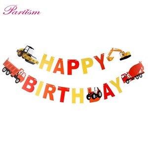 Image 4 - Ciągnik budowlany temat koparka nadmuchiwane balony ciężarówka pojazd banery Baby Shower dzieci chłopcy materiały urodzinowe