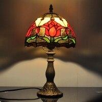 Тюльпаны американский кантри минималистский настольная лампа стекло Тиффани лампы Спальня Кабинет прикроватный подарки для детей освещен