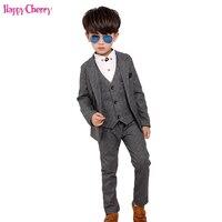 New 3pcs Kids Suits Boys Wedding Blazer Suit Single Breasted Wedding Suits Boy Formal Costume enfant garcon mariage Clothing Set
