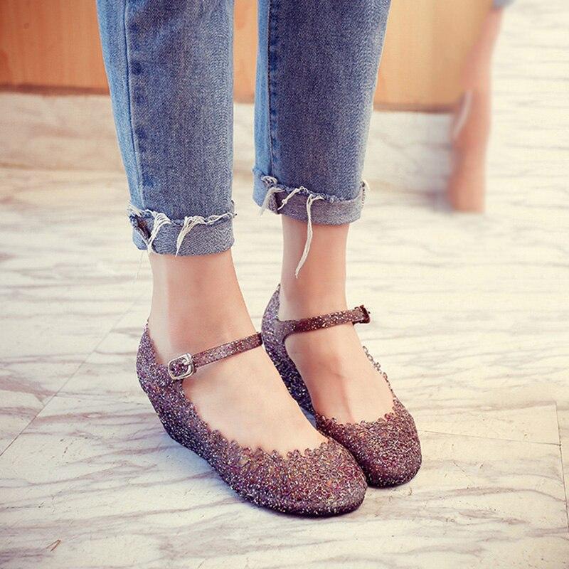 Wedge Sandals Shoes Buckle-Strap Transparent-Shoes Comfortable Fashion Hollow