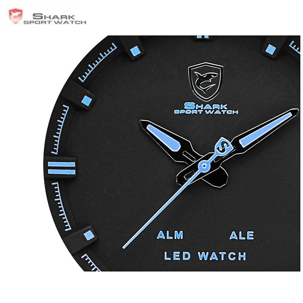 Kitefin requin Sport montre marque bleu extérieur randonnée numérique LED montres électroniques calendrier alarme bande de cuir hommes horloge/SH265 - 3