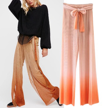 Lulu Leggings Limited Polyester Rayon Women Pants 2017 Summer New Bright Shiny Pants Fashion Wild Belt