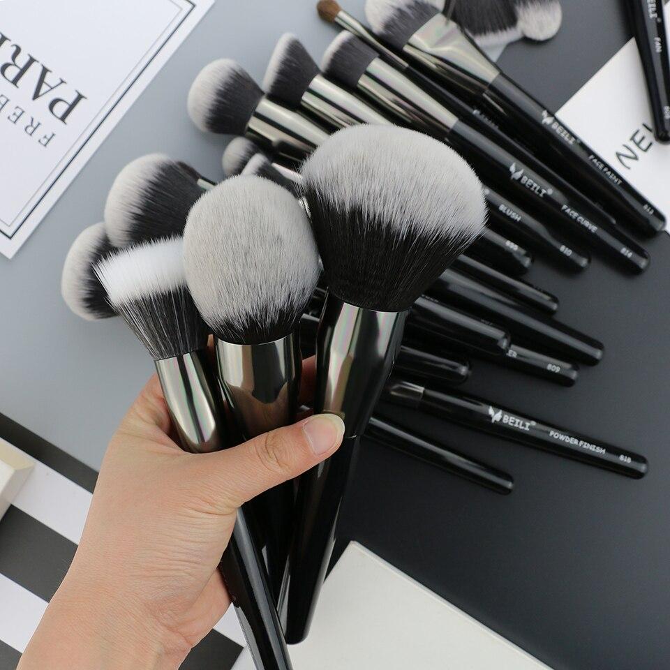 BEILI 40 pieces Luxury black professional makeup brush set Big brushes Powder foundation blending goat hair makeup brushes 3