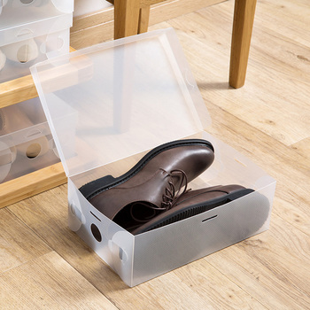 10Pcs Foldable Plastic Shoe Storage Case Boxes Stackable Organizer Shoe Holder baske shoes box organizer 4 Colors